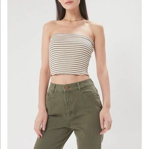 Urban outfitters tube top in back and white beige